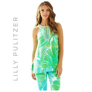 LILLY PULITZER Nwt fronds place tunic green sheen
